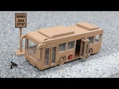 How to make Toy Bus(Folding Door) - Amazing Cardboard Car Cardboard Car, Cardboard Playhouse, Cardboard Furniture, Cardboard Crafts, Spiderman Craft, Helicopter Craft, Doll House Plans, Cardboard Fireplace, Fireplace Furniture
