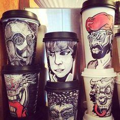 Illustrations sur des gobelets de café jetables - Miguel Cardona