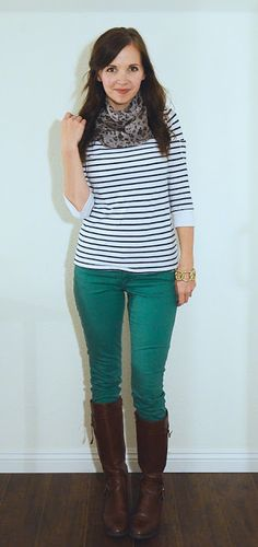 teal pants, brown boots