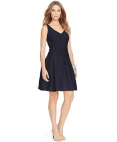 Lauren Ralph Lauren Jacquard V-Neck Dress