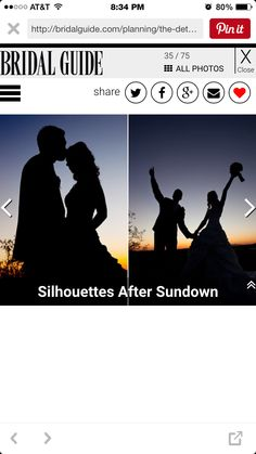 After ceremony silhouettes kissing