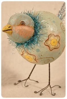 Spring folk art blue bird by Johanna Parker ~ This could be inspiration for Christmas ornament too.