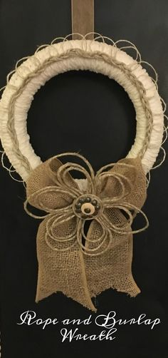 A rope and burlap wreath created for the monthly Create and Share challenge!