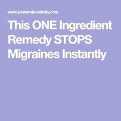 If you've ever had a migraine, you know that the pain can be excruciating and would do anything to make it stop. This one natural ingredient can help. Make It Stop, Natural Headache Remedies, Migraine Relief, Do Anything, Home Remedies, Natural Remedies For Headaches, Home Health Remedies, Natural Home Remedies