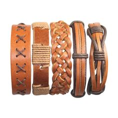 5 Piece Mens Leather Bracelet Women's Braided Cuff Braclet  Easter Gift BST-557