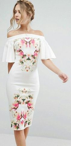Floral off shoulder bodycon Dress Bodycon Dresses, dress, clothe, women's fashion, outfit inspiration, pretty clothes, shoes, bags and accessories