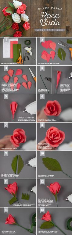 "Handmade Crepe Paper Rose Buds Tutorial ""Handmade Crepe Paper Rose Buds Tutorial - use with felt?"", ""Learn how to make crepe paper rose buds by hand wit Crepe Paper Roses, Paper Flowers Diy, Handmade Flowers, Felt Flowers, Flower Crafts, Fabric Flowers, Flower Diy, Craft Flowers, Paper Peonies"