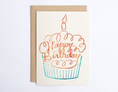 Happy Birthday Cupcake  Cute Happy Birthday Card  by seaandlake