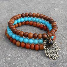 protection, set of mala bracelets with Hamsa charm and evil eye  lovepray jewelry