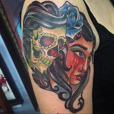 Check this out! Biggs is the man! Follow him! @biggstattoos @highstreettattoo #art #artist #asseenincolumbus #cbus #ccad #columbus #columbusohio #osu #ohio #local #localart #hst #highstreet #highstreettattoo #614 #shortnorth #tattoo #tattoos #tattooartist #duality #skull #cryingblood