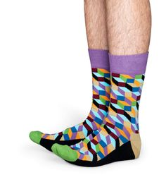 Graphic socks add a little fun to a wardrobe, and filled optic socks are the best option there is. The detailing in these socks wouldn't be possible if not for the fine combed cotton used during the weaving process. That means these socks offer the ultimate in style and comfort! Boasting coloring ranging from blue, purple and orange to red, green and tan, men and women will fall in love with filled optic socks. Crazy Socks For Men, Weaving Process, Happy Socks, Graphic Patterns, Red Green, Coloring, Colorful Socks