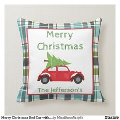 Merry Christmas Red Car with Tree Plaid Background Throw Pillow