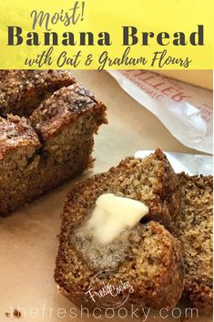 This is the moistest most flavorful banana bread recipe. With the addition of oat and graham flours, reduced sugar and a touch of honey, it makes for the perfect afterschool snack! Banana Oat Bread, Banana Bread Recipes, Best Brunch Recipes, Fall Recipes, Delicious Recipes, Breakfast Recipes, Vegetarian Recipes, Yummy Food, Favorite Recipes