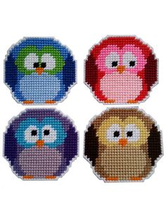 Plastic Canvas - Roundy Owl Coasters ***these are so cute***I'd make a log with a hole in it for a coaster holder.