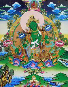 Green Tara (Reprint on Paper - Unframed) Buddha Kunst, Buddha Art, Buddhism Symbols, Tara Goddess, Gautama Buddha, Thai Art, Beautiful Posters, Tibetan Buddhism, Deities