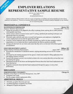 employer relations representative resume resumecompanioncom - Resume Companion