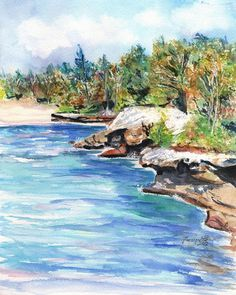 Kauai Mahaulepu Hike Seascape art print 8x10 from Kauai Hawaii blue sand ocean