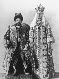Tsar Nicholas II and Alexandra. Though these photos were taken around the turn of the 20th Century, these are examples of traditional Byzantine costume.