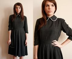 1950s full skirt day dress with peter pan collar. *The link is bad, but cute AND modest!*
