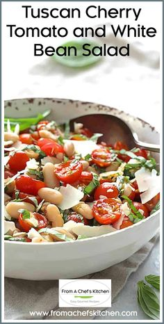 Tuscan Cherry Tomato and White Bean Salad is a beautiful summer salad that's perfect alone or on the side with almost any grilled protein! #tuscanfood #cherrytomato #tomato #whitebean #cannellinibean #bean #salad Cherry Tomato Recipes, Cherry Tomato Salad, Cherry Tomatoes, Side Salad Recipes, Side Dish Recipes, Gourmet Recipes, Vegetarian Recipes, Tuscan Recipes, Best Italian Recipes