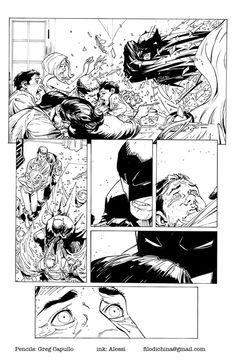 Personal exercise of inking on Greg Capullo's pencils: The original pencil is here: http://thegregcapullo.deviantart.com/art/Crashing-the-Party-344143175 Comics INK by Alessandro Alessi Anghini, via Behance