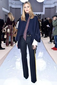 Olivia Palermo wearing Joseph Fall 2014 Pants and Paige Floral Skinny Scarf