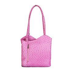 Multi-Way Pink Ostrich Leather Shoulder Bag/Backpack - £49.99