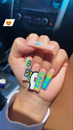 Acrylic Nails Coffin Pink, Short Square Acrylic Nails, Drip Nails, Glow Nails, Dope Nail Designs, Exotic Nails, Manicure Y Pedicure, N21, Stylish Nails