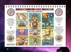 Astrological Birthday calendar, Perpetual Zodiac Calendar for every year.Never forget a birthday. Birthday Photos, Birthday Cards, Pisces Birthday, Pisces Star Sign, Birthday Reminder, Zodiac Calendar, Birthday Calendar, 12 Zodiac Signs, Zodiac Symbols
