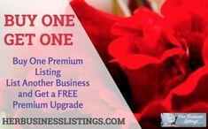 BUY ONE GET ONE HER BUSINESS LISTING PREMIUM http://www.herbusinesslistings.com/listing/buy-one-get-one-premium-listing/ … Good thru February 28th! https://plus.google.com/+HeidiRichards/posts/LPgeVSsis8f