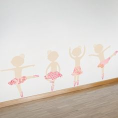 Dancers with skirts wall decal - If your little girl loves to dance, give her her very own studio, complete with ballerina dancer stickers for her wall. A row of dancing ballerinas is just the thing for any future Prima Ballerina, and she will love trying out her own dance skills right along with them!