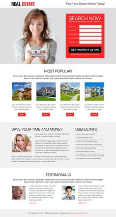 best real estate property listing clean and effective lead generating landing page design Real Estate Business, Real Estate Agency, Real Estate Marketing, Best Landing Page Design, Best Landing Pages, Real Estate Landing Pages, Design Responsive, Responsive Web, Web Design