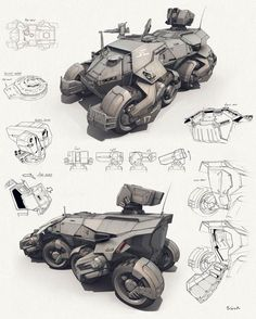 Futuristic six wheeled military rocket launcher, air defense lightweight truck vehicle, concept art transportation design sketch, illustration for concept artist Cyberpunk, Futuristic Cars, Futuristic Vehicles, Mechanical Design, Mechanical Engineering, 3d Prints, Armored Vehicles, Armored Car, Sci Fi Art