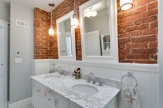 Glover Park Exposed Brick Bathroom Meg Tawes - Home Art Decor Brick Bathroom, Best Bathroom Flooring, Bathroom Red, Bathroom Wallpaper, Bathroom Tiling, Mirror Bathroom, Basement Bathroom, Bathroom Ideas, Bad Inspiration