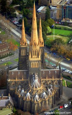 St Patrick's Cathedral Spires Melbourne, Victoria, Australia I was so lost and was walking in the 42 heat when I found this church and sat in the AC for almost 2 hours Sacred Architecture, Church Architecture, Revival Architecture, Melbourne Australia, Australia Travel, Western Australia, Les Religions, Old Churches, Catholic Churches