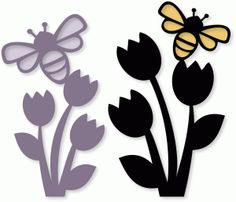 Silhouette Design Store - View Design #77384: bee tulips