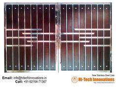 Stainless Steel Gate – HT-SSG-008 Home Gate Design, Grill Gate Design, House Main Gates Design, Steel Gate Design, Front Gate Design, Window Grill Design, Stainless Steel Stair Railing, Stainless Steel Gate, Cast Iron Gates