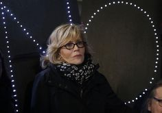 Actress and political activist Jane Fonda attends a rally with opponents of the Keystone XL and Dakota Access pipelines at Columbus Circle.