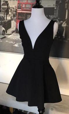 short black homecoming dress, 2017 short homecoming dress, deep v neck homecoming dress