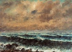 Gustave Courbet Autumn Sea oil on canvas, 73 x 54 cm. Collection of Ohara Museum of Art, Kurashiki, Japan. Via Wikimedia Commons. French Paintings, Romantic Paintings, Seascape Paintings, Gustave Courbet, Image Nature, Google Art Project, Images Vintage, Art Google, Art Museum