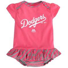 f77595ac1e8 Dodgers Girl Pink Striped Bib