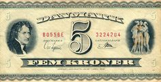 Front of Denmark banknote, 5 Kroner, pick 42h from the year 1955