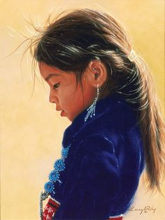 Portrait of a Navajo girl by Larry Riley (American, b. 1947)