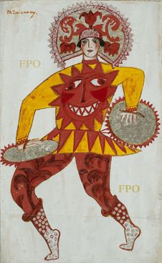 Costume design by Mikhail Larionov for Soleil de nuit, 1915