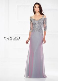 Montage By Mon Cheri 118974 - This elegant off-the-shoulder two-tone chiffon slim A-line gown with three-quarter illusion and lace sleeves offers a lace and metallic lace bodice with hand-beading, a natural waistline, and a sweep train. Removable narrow lace straps create cold shoulder cutouts.