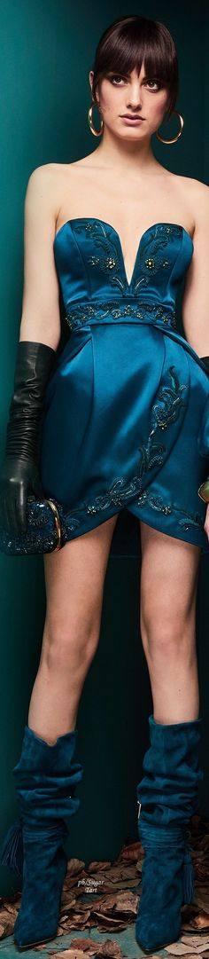 Zuhair Murad - Ready to Wear - Fall Winter International Fashion, Fashion 2018, Womens Fashion, Fashion Today, Zuhair Murad, Dressy Dresses, Short Dresses, Mini Dresses, Shades Of Teal
