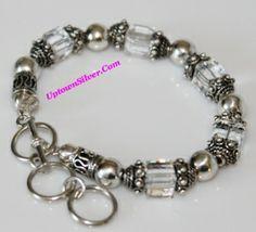 Silpada Swarovski Crystal 925 Sterling Silver Beads Toggle Bracelet Retired Rare