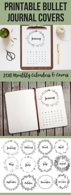 These bullet journal monthly covers are so cute and perfect for my new 2018 planner! Love the floral wreath design! You could color them in too to make each month unique. I love bujo printables because I'm not so good at drawing but I love the creative look haha. #ad #affiliate #bujo #bulletjournal #2018 #planner #printable