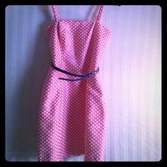 NWT ADORABLE POLKA DOT DRESS SIZE 2 Pink and white polka dot dress with navy belt. Nwt Dresses Mini