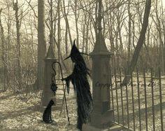 Original OOAK Painting Halloween Cat Witch Wicca Gothic Folk Art Artist T Foss